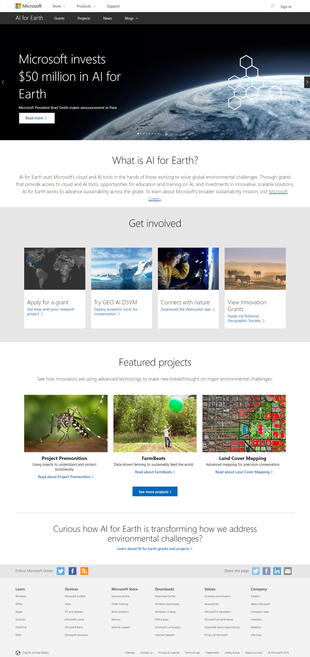 Microsoft AI for Earth home page