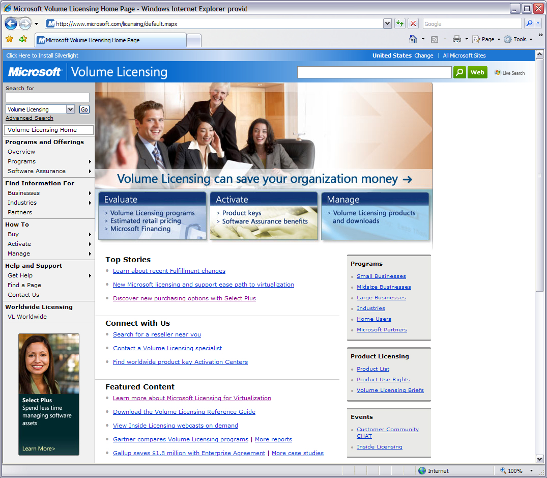 Licensing home page (before redesign)