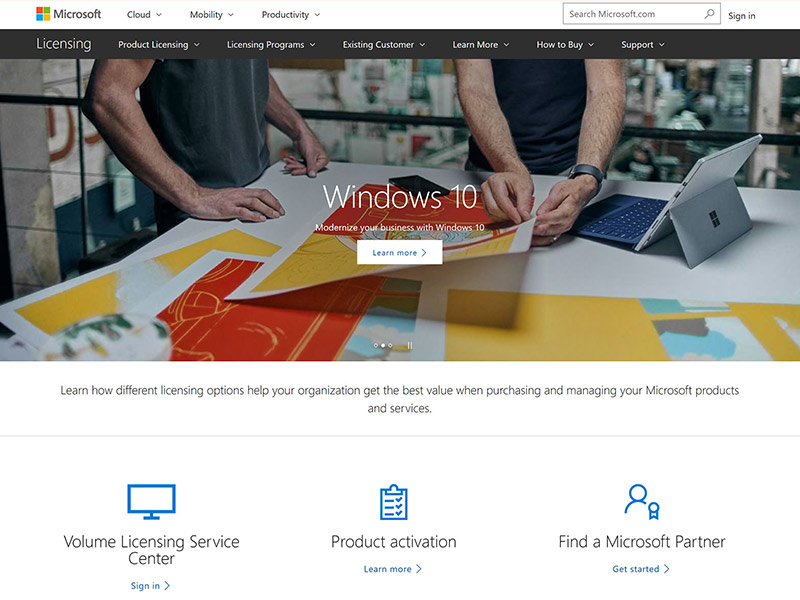 Microsoft Licensing home page
