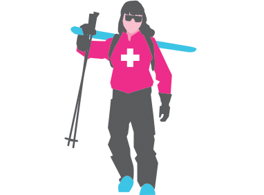 Illustration of Jill skiing
